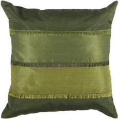 "Rizzy Home PILT03993GR001818 Green 18"" x 18"" Pillow with Hidden Zipper and Polyester Filler - LightingDirect.com"