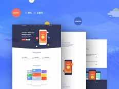 Flat App Landing Page PSD Template - Free Download | Freebiesjedi