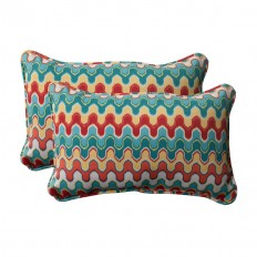 Shop Pillow Perfect Nivala 2-Pack Multicolor Rectangular Outdoor Decorative Pillow at Lowes.com