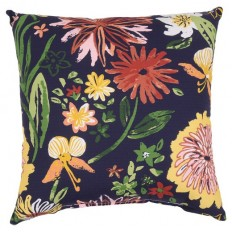 "18"" Throw Pillow - Navy Ground Painted Floral - Threshold? : Target"