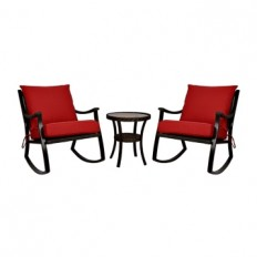 Red Barclay Brown Wicker Rockers & Table, Set of 3 | Kirklands
