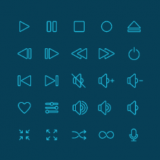25 Free Music Icon Set for UI Designer (AI, PSD and Sketch) -