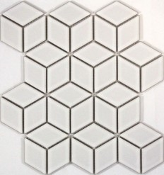 Cube Gloss White Mos 48mm Floor and Wall Tiles | TileSpace - Tiles.co.nz