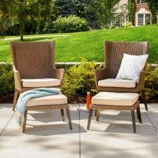 Ennismore 4-Piece Wicker Patio Conversation Seating Set - Threshold? : Target