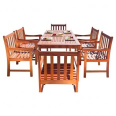Vifah Malibu Eco-Friendly 7-Piece Wood Outdoor Dining Set - Brown : Target
