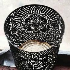 Mandala candle holder torch cut tin luminaries. Tin can
