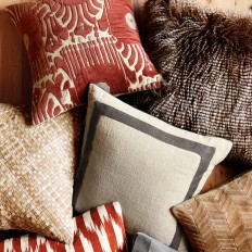 Velvet Ikat Applique Pillow Cover, Red/Natural | Williams Sonoma