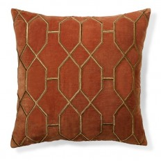 Geometric Embroidered Velvet Pillow Cover, Rust | Williams Sonoma