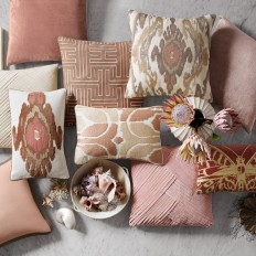 Metallic Embroidered Butterfly Pillow Cover, Rust/Gold   Williams Sonoma