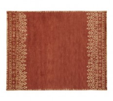 Desa Bordered Wool Rug - Terra Cotta | Pottery Barn