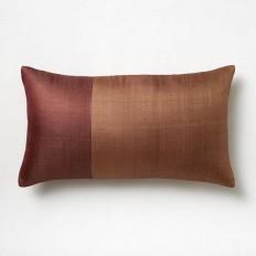 Sari Silk Pillow Cover - Amber Rust/Dusty Rhubarb | west elm