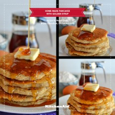 Healthy Home Made Butter Pancakes With Golden Syrup