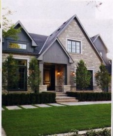 love the combination of materials and landscaping | Home | Pinterest