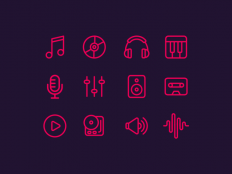Free Line Music Icon - Free Download | Freebiesjedi