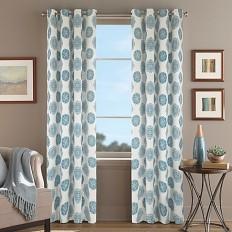 Orion Morocco Grommet Top Window Curtain Panel in Aqua - Bed Bath & Beyond