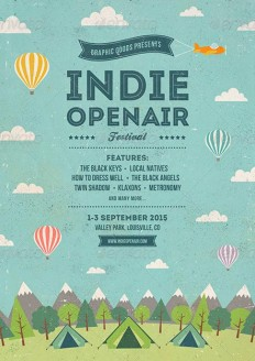 Indie Open-air Festival Flyer and Poster Template on Inspirationde