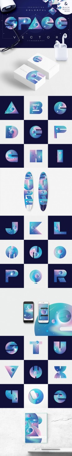 Colorful Space-vector typography on Inspirationde