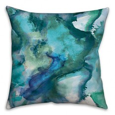 Watercolor Waves Throw Pillow in Blue - Bed Bath & Beyond