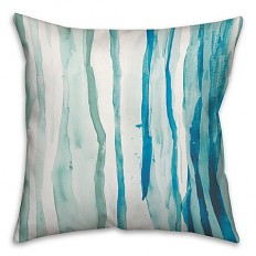 Watercolor Drippy Lines Square Throw Pillow in Blue/White - Bed Bath & Beyond