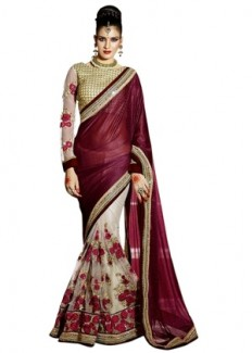 Pick Any 1 Embroidered Party Wear Saree By Surat Tex - HomeShop18.com