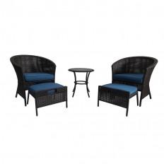 Shop Garden Treasures Sandyfield 5-Piece Brown Wicker Patio Conversation Set with Blue Cushions at Lowes.com