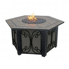 Endless Summer 41 in. Hex LP Fire Pit with Slate Tile and Wrought Iron Panels-GAD1352SP - The Home Depot