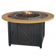 UniFlame 43 in. Round Slate Tile and Faux Wood Propane Gas Fire Pit-GAD1362SP - The Home Depot