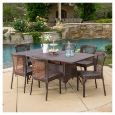 Rafael 7pc Wicker Patio Dining Set - Brown - Christopher Knight Home : Target