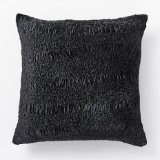 Crinkle Velvet Pillow Cover - Black | west elm