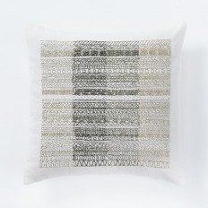 Beaded Ombre Stripe Pillow Cover - Stone White | west elm