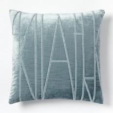 Velvet Applique Pillow Cover - Dusty Blue | west elm