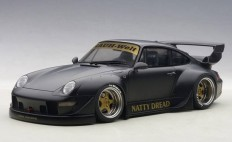 AutoArt 1:18 Porsche 993 RWB in Matt Black w Gold Wheels Diecast Model Car in 1:18 Diecast Model - Diecast Zone