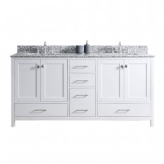 Virtu USA Caroline Madison 72 in. W x 22 in. D Vanity in White with Granite Vanity Top in Arctic White with White Square Basin-GD-28072-AWSQ-WH-NM - The Home Depot