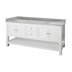 Home Decorators Collection Gazette 72 in. Double Basin Vanity in White with Granite Vanity Top in Rushmore Grey - GAWAT7222D - The Home Depot