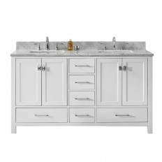 Virtu USA Caroline Avenue 60 in. W x 22 in. D Double Vanity in White with Marble Vanity Top in White with White Basin-GD-50060-WMSQ-WH-NM - The Home Depot