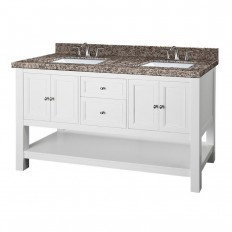 Home Decorators Collection Gazette 61 in. W x 22 in. D Double Vanity in White with Granite Vanity Top in Sircolo and White Basins-GAWAT6022D-SIR - The Home Depot