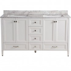Home Decorators Collection Claxby 61 in. W x 22 in. D Vanity in Cream with Stone Effects Vanity Top in Winter Mist with White Basin-CB60P2WMRCOM-CR - The Home Depot