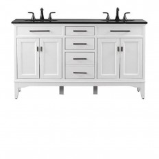 Home Decorators Collection Manor Grove 61 in. Double Vanity in White with Granite Vanity Top in Black with White Basin-2246030410 - The Home Depot