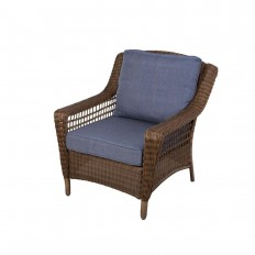 Hampton Bay Spring Haven Brown All-Weather Wicker Patio Lounge Chair with Sky Blue Cushions-66-20301 - The Home Depot