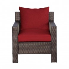 Hampton Bay Beverly Patio Deep Seating Lounge Chair with Cardinal Cushion-65-9102331 - The Home Depot