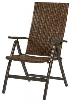 Hand Woven PE Wicker Outdoor Reclining Chair - Tropical - Outdoor Folding Chairs - by GREENDALE HOME FASHIONS