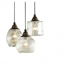 Shop allen + roth Cardington 14.67-in Aged Bronze Craftsman Multi-Light Clear Glass Dome Pendant at Lowes.com