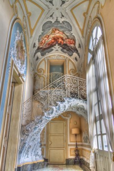 Stairs and Painting in Palazzo Biscari, Catania on Inspirationde
