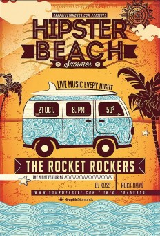 Hipster Beach Summer Flyer on Inspirationde