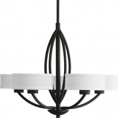 Shop Progress Lighting Calven 30-in 5-Light Forged Black Shaded Chandelier at Lowes.com