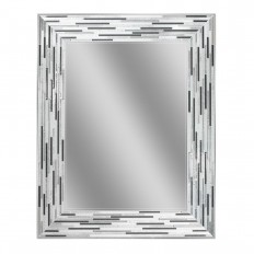 Deco Mirror 29.5 in. L x 23.5 in. W Reeded Charcoal Tiles Wall Mirror-1220 - The Home Depot