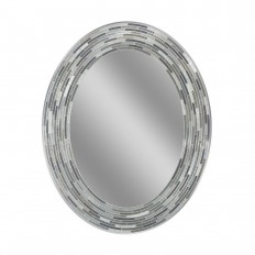 Deco Mirror 29 in. L x 23 in. W Reeded Charcoal Oval Tiles Wall Mirror-1207 - The Home Depot