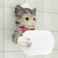 Unusual Funny Cute Wall Mounted Butler Cat Toilet Paper Holder