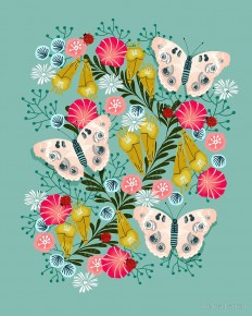 """Buckeye Butterly Florals by Andrea Lauren "" by Andrea Lauren 
