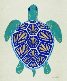 """Sea Turtle – Navy & Gold"" Art Prints by Cat Coquillette 